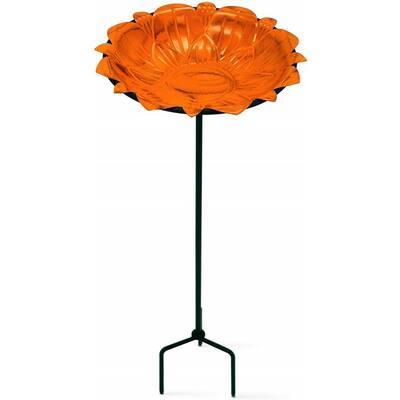 Monarch Sunset Orange Lotus Standing Bird Bath/Bird Feeder with Metal Stake Garden Decor