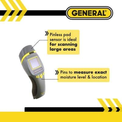 Combo Pin and Pinless Moisture Meter for Water Damage and Mold Prevention