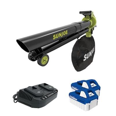 163 MPH 391 CFM 48-Volt Cordless Blower Vacuum Mulcher Kit with 2 x 4.0 Ah Batteries Plus Charger