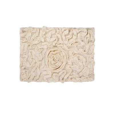 Bell Flower Collection Ivory 17 in. x 24 in. Cotton Bath Rug
