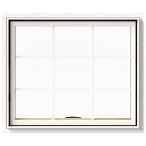 36 in. x 36 in. W-2500 Series White Painted Clad Wood Awning Window w/ Natural Interior and Screen