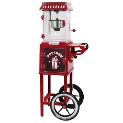 Popcorn Cart 2.5 oz Non-Stick Stainless Steel Kettle, Makes 10 Cups, Cabinet Built-In Light, with Spoon & Scoop