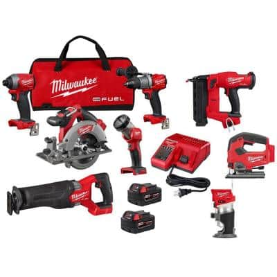 M18 FUEL 18-Volt Lithium-Ion Brushless Cordless Combo Kit (5-Tool) with Compact Router, Jig Saw and 18-Gauge Brad Nailer