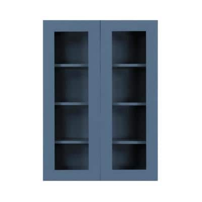 Lancaster Blue Plywood Shaker Stock Assembled Wall Glass-Door Kitchen Cabinet 27 in. W x 12 in. D x 42 in. H