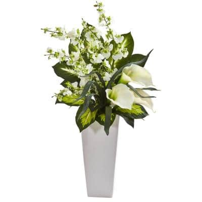 29 in. Indoor Calla Lily and Orchid Artificial Arrangement in White Vase