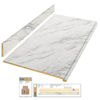 8 ft. White Laminate Countertop Kit with Full Wrap Ogee Edge in Calcutta Marble