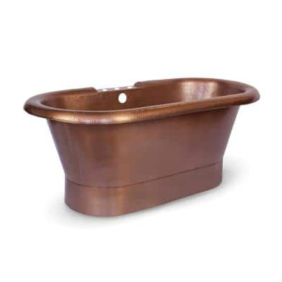 Thales 5 ft. Pure Copper Flat-Bottom Non-Whirlpool Freestanding 3-Hole Bathtub in Antique Copper
