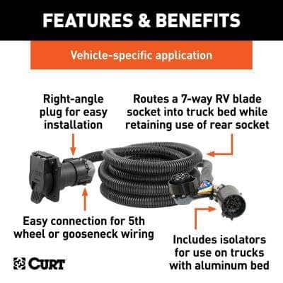 10' Custom Wiring Harness Extension (Adds 7-Way RV Blade to Truck Bed, Packaged)