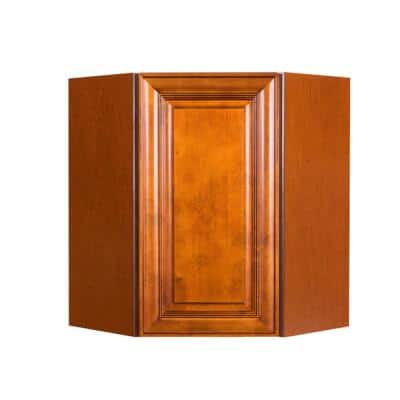 Cambridge Assembled 24 in. x 30 in. x 12 in. Wall Diagonal Corner Cabinet with 1-Door 2-Shelves in Chestnut