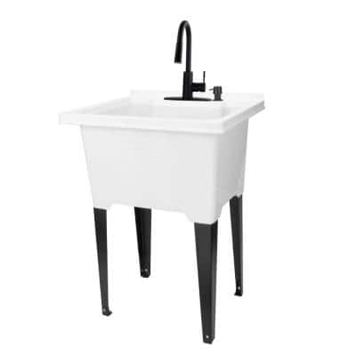 25 in. x 21.5 in. ABS Plastic Freestanding Utility Sink in White - Black Hi-Arc Pull-Down Faucet, Soap Dispenser