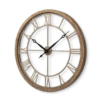 Mething II 25 in. Brown Oversize Farmhouse Analog Wall Clock