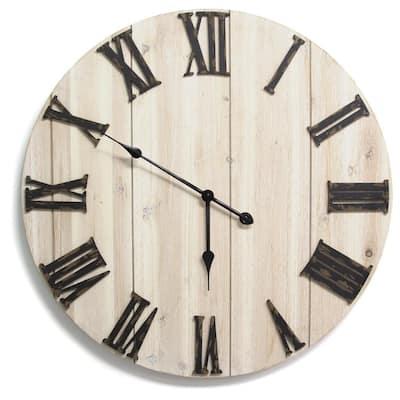 "28"" Round Distressed White Wood & Metal / Wall Clock"