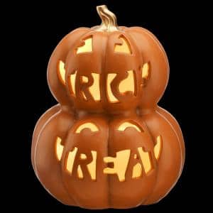 13 in. Orange Stacked Pumpkins Trick Treat with Warm White LED