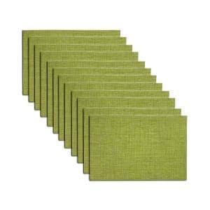 EveryTable 18 in. x 12 in. Green Jacquard Polyester Placemat (Set of 12)