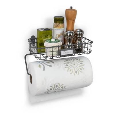 Vintage Wall Mount Basket with Paper Towel Holder