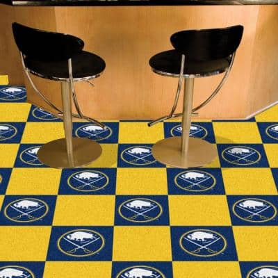 NHL - Buffalo Sabres Blue and Yellow Pattern 18 in. x 18 in. Carpet Tile (20 Tiles/Case)