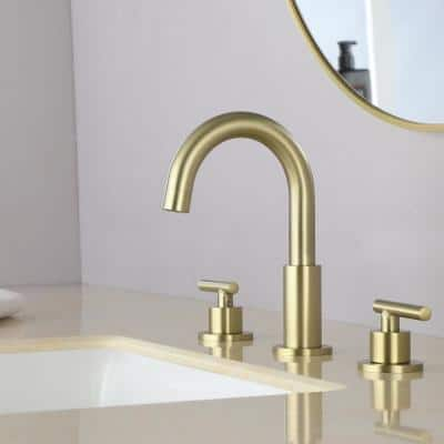 8 in. Widespread 2-Handle Mid-Arc Bathroom Faucet with Valve and cUPC Water Supply Lines in Brushed Gold