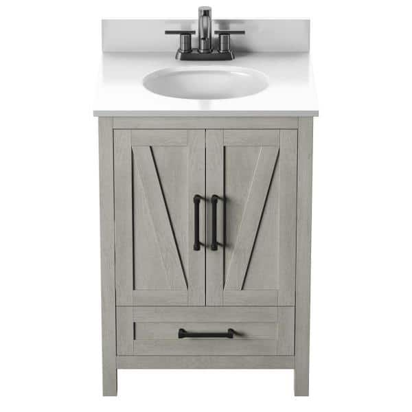 Twin Star Home Rustic 24 In Bath Vanity In Fairfax Oak With White Stone Top And White Basin 24bv477 Po116 The Home Depot