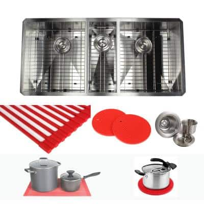 Undermount Stainless Steel 42 in. x 20 in. x 10 in. Deep 16-Gauge Triple Bowl 40/20/40 Zero Radius Kitchen Sink Combo