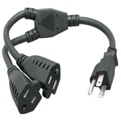 14 in. 14 AWG Power Cord Splitter Cable (2 NEMA 5-15R to 1 NEMA 5-15P)