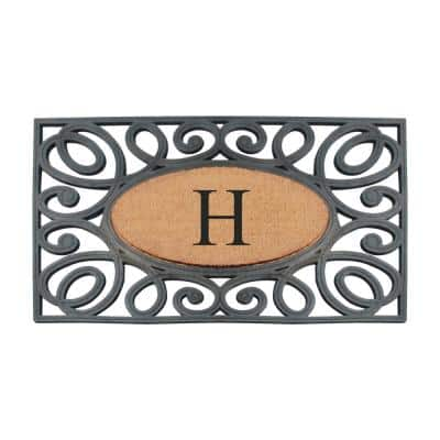 A1HC Elegant Circles Black/Beige 23 in. x 38 in. Rubber and Coir Heavy Duty Monogrammed H Doormat
