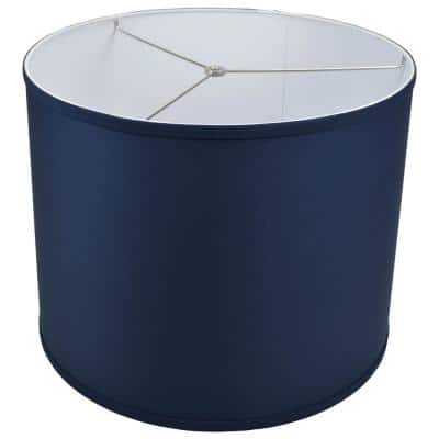 Fenchel Shades 18 in. Top Diameter x 18 in. Bottom Diameter x 14 in. Height, Drum Lamp Shade - Linen Navy Blue