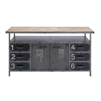 Gray Industrial Metal and Wood Utility Buffet Cabinet