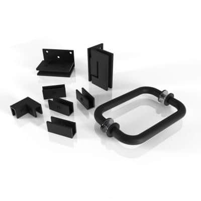 78 in. 90 Degree Wall Hinged Hardware Pack in Matte Black with Handle
