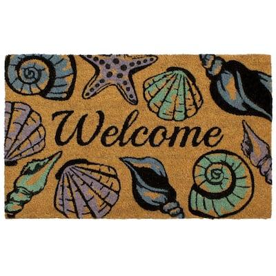 All Weather Seashell Welcome 18 in. x 28 in. Indoor/Outdoor Printed Coir Mat