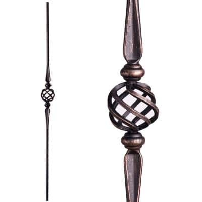 Round 44 in. x 0.5625 in. Oil Rubbed Bronze Single Basket Solid Wrought Iron Baluster
