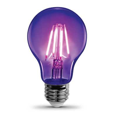 7-Watt A19 Glass Medium E26 Base LED Black Light Party Light Bulb (1-Bulb)