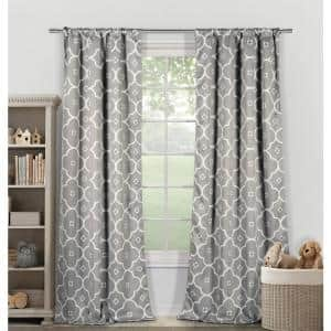 Geometric White Grey Polyester Blackout Pole Top Window Curtain - 39 in. W x 84 in. L (2-Pack)