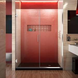 Unidoor Plus 58 to 58.5 in. x 72 in. Frameless Hinged Shower Door in Chrome