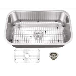 Undermount 16-Gauge Stainless Steel 29-3/4 in. 0-Hole Single Bowl Kitchen Sink with Grid Set and Drain Assembly