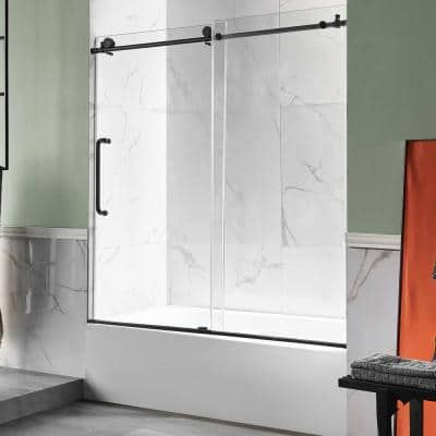 Anzzi 5 ft. Acrylic Left Drain Rectangle Tub in White with 60 in. W x 62 in. H Frameless Sliding Tub Door in Matte Black