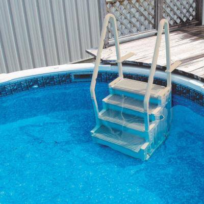 Ladder Step Entry for Above Ground Pool with Mat Pad Plus 2-Sand Weights