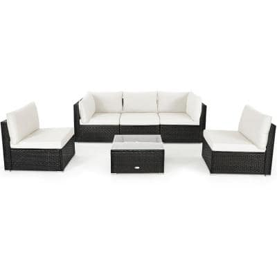 6-Piece Patio Rattan Furniture Set Sofa Coffee Table Garden with White Cushions