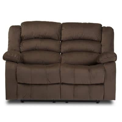 Hollace 59.7 in. Taupe Polyester 2-Seater Reclining Loveseat with Square Arms