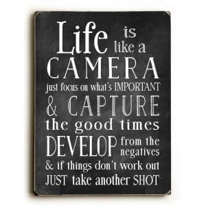 9 in. x 12 in. + ''Life Is Like A Camera'' by Nancy Anderson Printed Wall Art