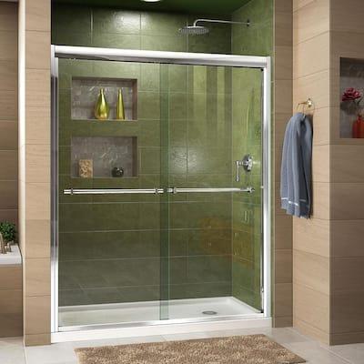 Duet 30 in. D x 60 in. W x 74.75 in. H Semi-Frameless Sliding Shower Door in Chrome with Right Drain White Base