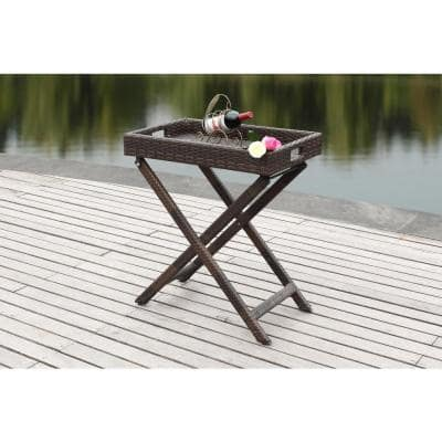 Bardia Brown Wicker Outdoor Side Table