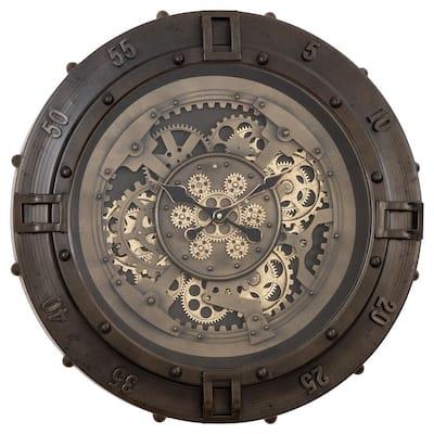 Urban Loft Gears Antique Gunmetal Wall Clock
