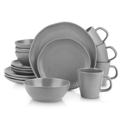 Stone Lain 32 Piece Stoneware Round Weave Dinnerware Set, Service for 8, Gray