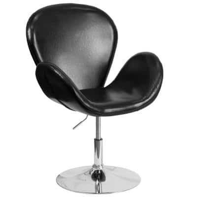 Hercules Trestron Series Black Leather Reception Chair with Adjustable Height Seat