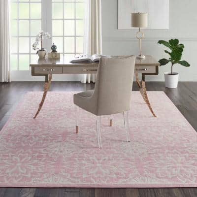 Jubilant Ivory/Pink 8 ft. x 10 ft. Moroccan Farmhouse Area Rug