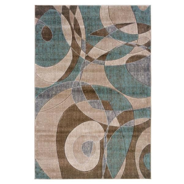 Linon Home Decor Milan Collection Brown And Turquoise 2 Ft X 3 Ft Indoor Area Rug Rug Mn1623 The Home Depot
