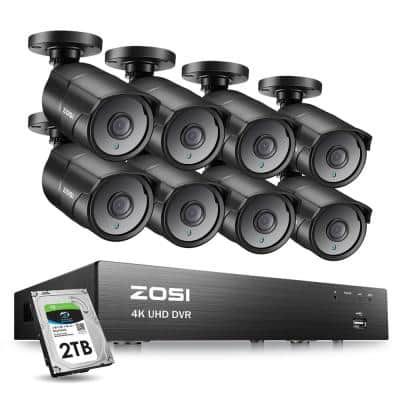 4K 8-Channel 8MP 2TB Hard Drive CCTV DVR Security Camera System with 8 Wired Bullet Cameras