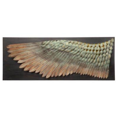 13.5 in. x 36.5 in. Wing of Icarus Sculptural Metal Wall Frieze