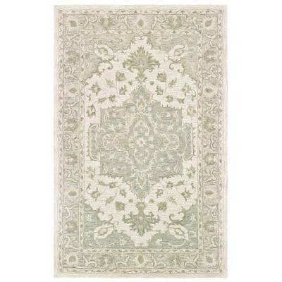 Parampara Classic Medallion Sea Green / Gray 7 ft. 9 in. x 9 ft. 9 in. Indoor Area Rug