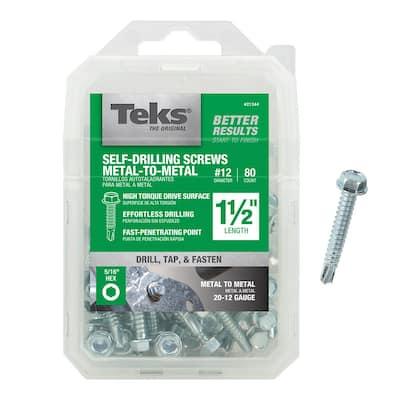 #12 x 1-1/2 in. External Hex Flange Hex-Head Self-Drilling Screws (80-Pack)